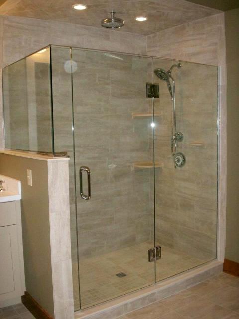 Tiled Shower with Full Glass Door