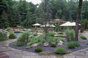 Even the cloudy day can not dampen the beauty of this landscaping!