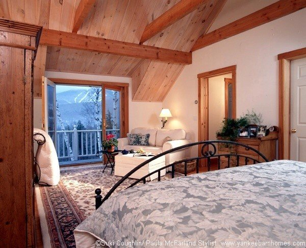 White Mountains Skiing View from a Post and Beam by Yankee Barn Homes