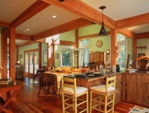 Adjacent to the kitchen, the dining room area is the focal point of the open floor plan.