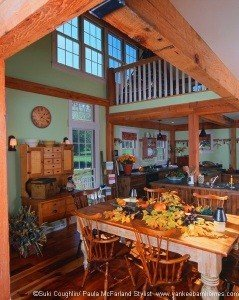 The dining room area has an open ceiling for and added sense of height and light.