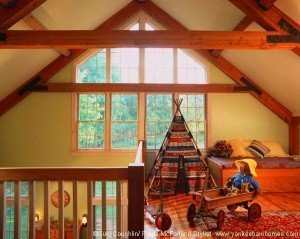 The loft overlooking the kitchen gives the grandchildren plenty of room to play within sight of the other generations.