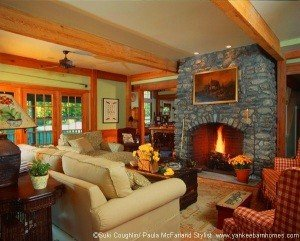 The family room employs 10 foot ceilings to accomidate the beautiul stone fireplace.