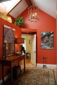 The same entry redecorated and painted in the color Spiced Pumpkin by Benjamin Moore.