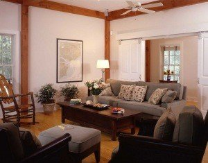 In the living room sliding barn doors lead to an office/guest bedroom with a clever Murphy Bed built into the wall.