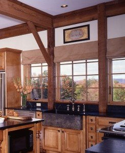 The kitchen in an Adirondak post and beam home