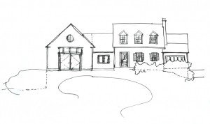 On of the homeowner's drawings of how she wanted her addition to look.