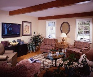 This media room was specifically designed to become a first floor master bedroom should it ever become necessary.