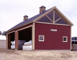 Barn with King Post Truss Frame