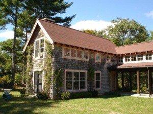 timber framebarn home - red roof
