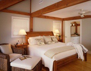 post and beam bedroom