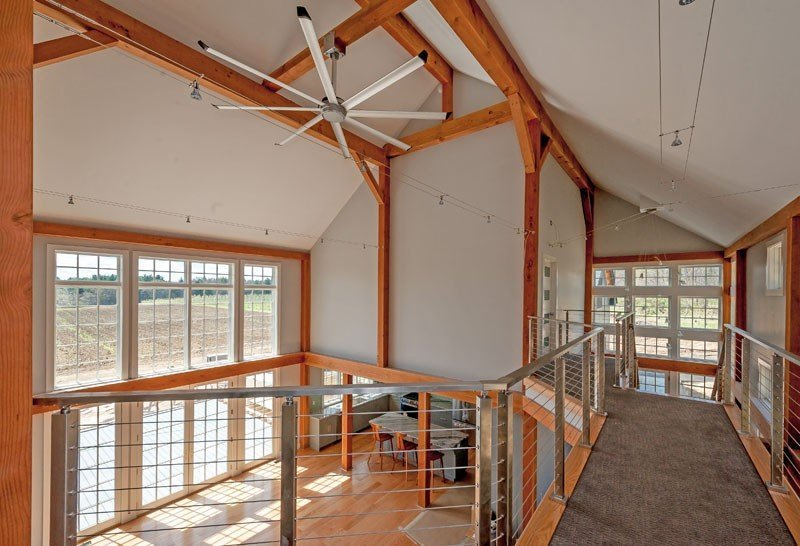 Post and beam great room catwalk