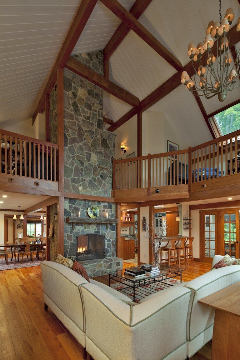 Gathering House Post and Beam Barn Home Great Room