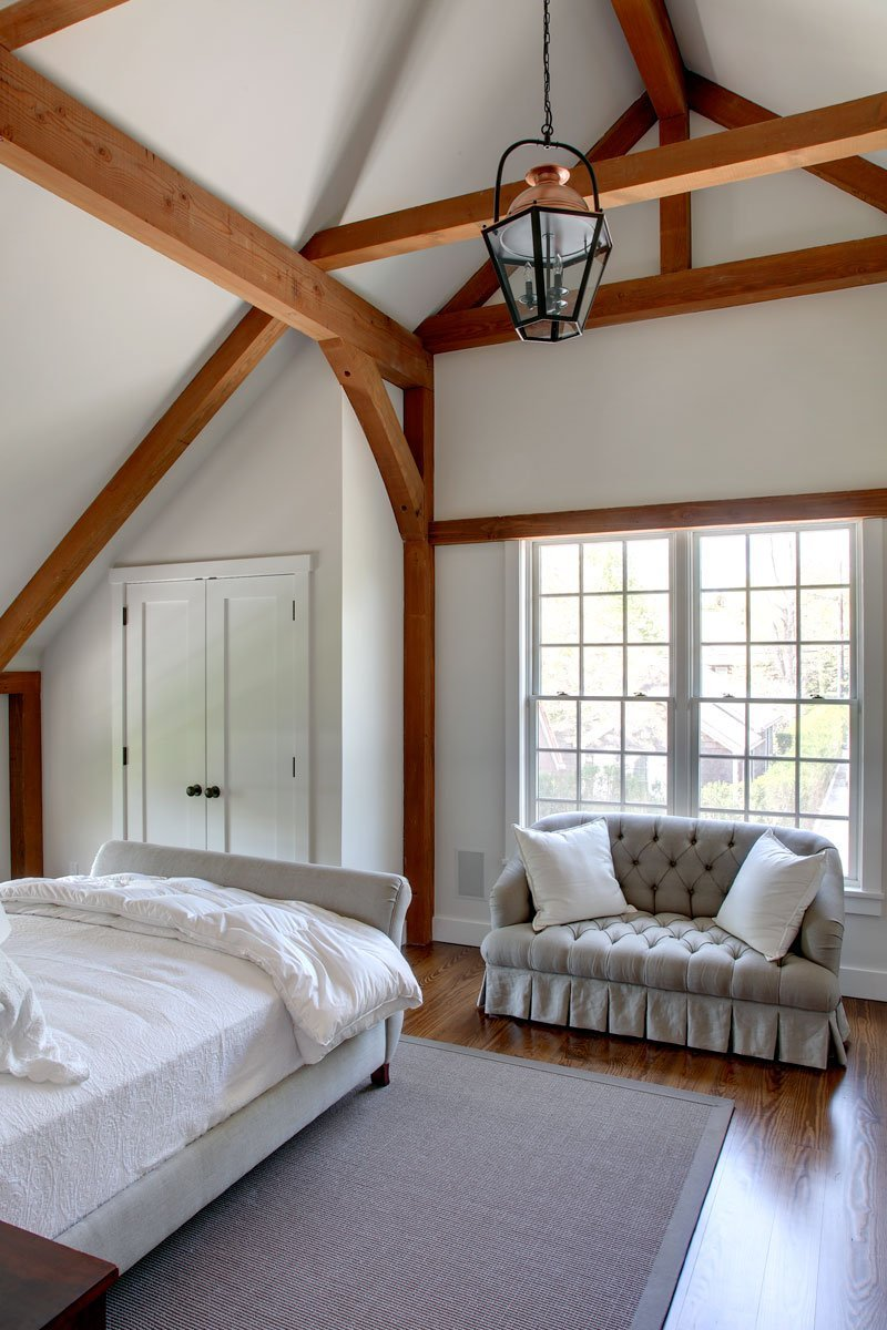 Barn home panelized post and beam bedroom in East Hampton