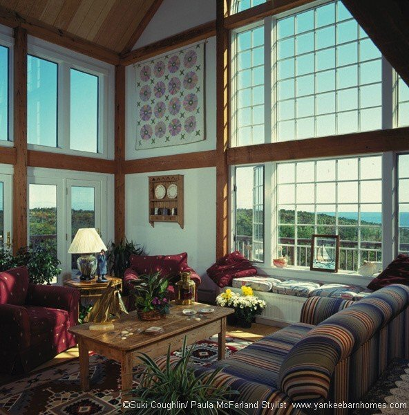 Coastal timber frame home with stunning ocean views from the great room.