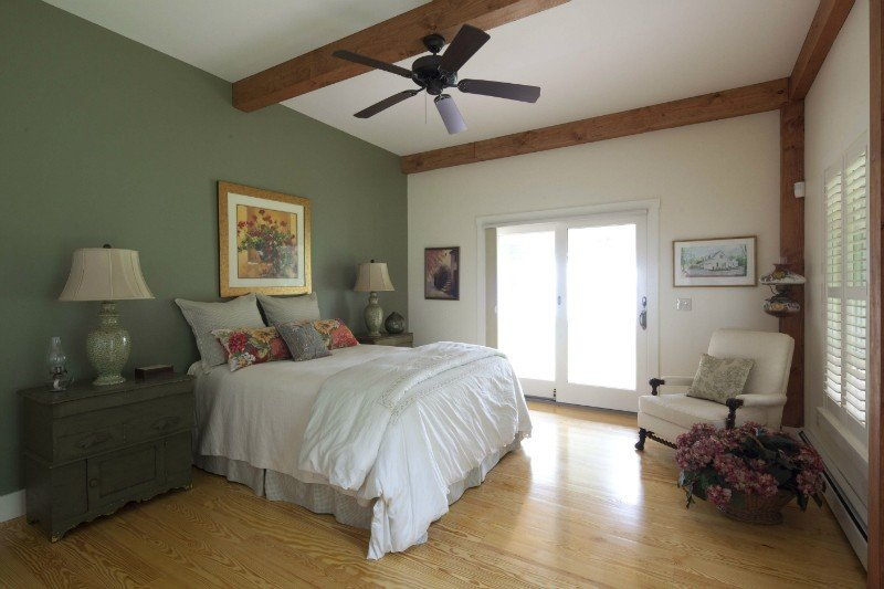 post and beam farmhouse cottage bedroom