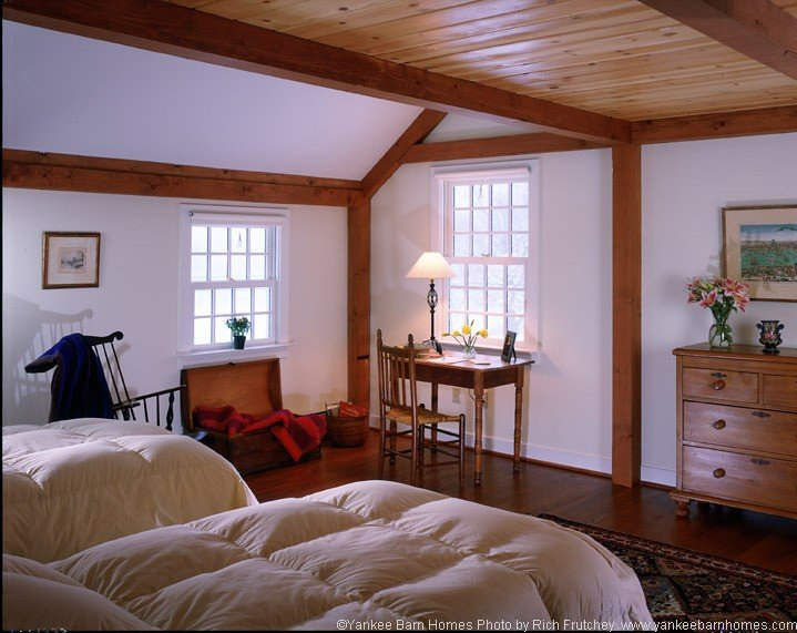 Post and beam farmhouse bedroom
