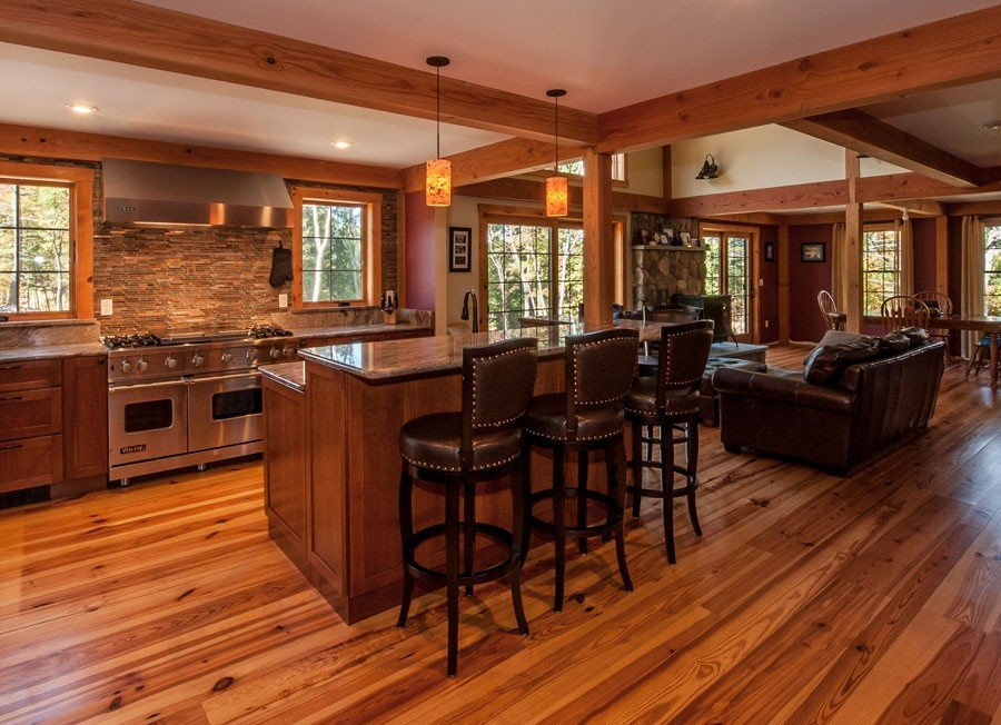 Post and Beam Farmhouse Eat-in Kitchen Island