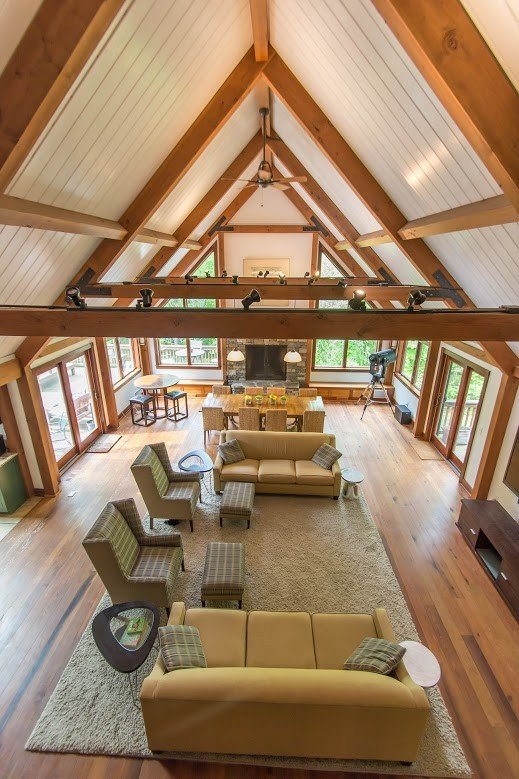 Kerr Creek Barn Home Great Room from above - Yankee Barn Homes