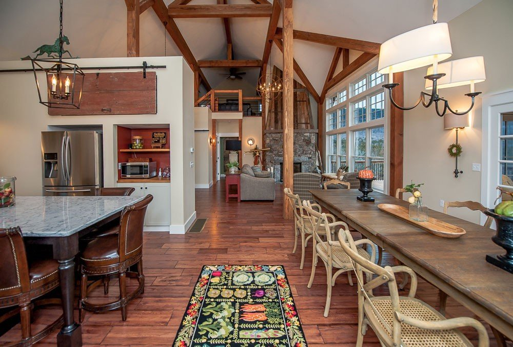 Barn style home open concept dining area