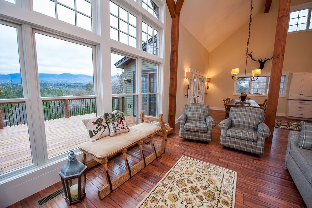 Timber frame barn home great room with a view