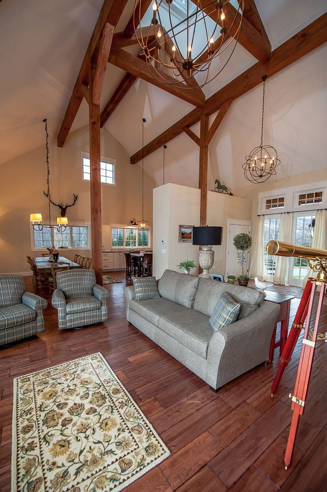 Post and beam open concept living area