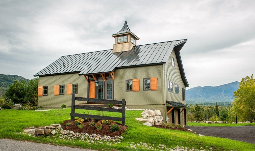 Timber Frame Barn Style Mountain Home Exterior