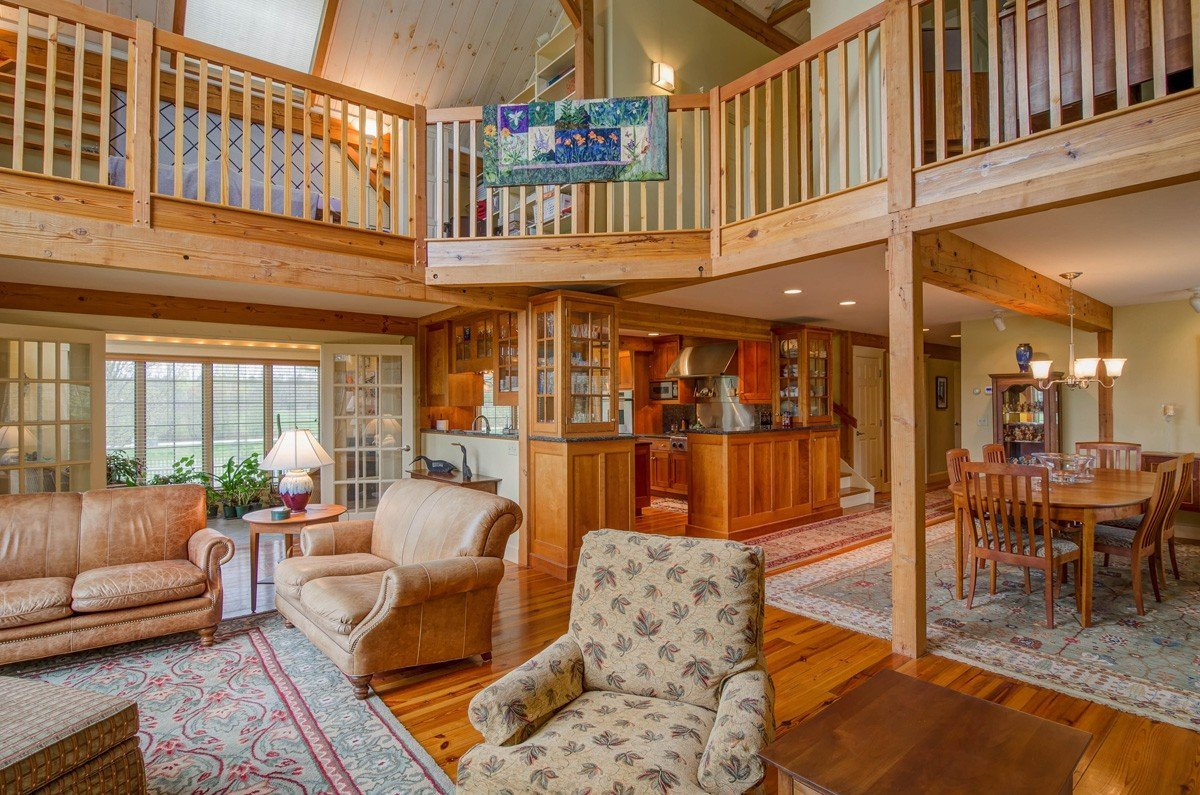 Timber Frame Great Room by Yankee Barn Homes