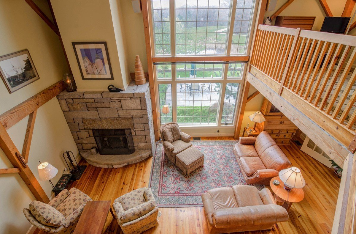 Barn Home Great Room with Wall of Windows