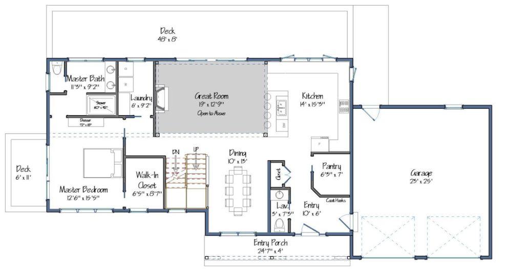 Farmhouse Floor Plan Level One